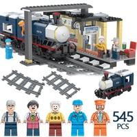 545PCS Creator Designer Passenger Platform Building Blocks Compatible LegoINGLY City Train track Figures Bricks Child Toys Gifts