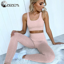 цены Summer New Women's Slim Body Yoga Fitness Suit High Waist Mujer 2 Piece Running Hip Up Femme Sport Suit Bra+leggings Pink Mujer