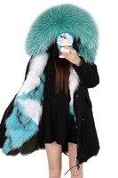 Maomaokong winter jacket fur parka large raccoon fur collar with real fox fur lining brand thick warm parka