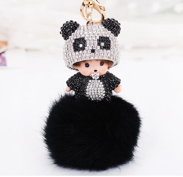Fashion New Handbag Keyrings Charms Panda Hat Cute Monchichi Cartoon Rhinestone Monchichi Key Chains Couple Keychain