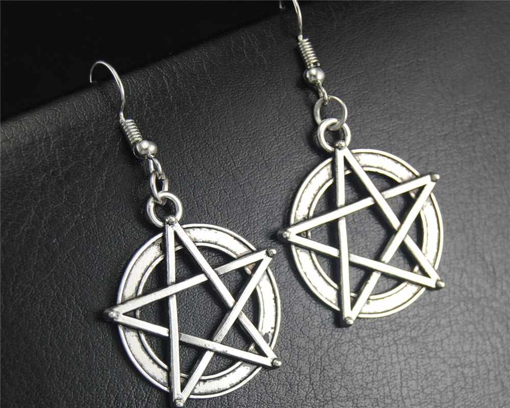 1pair(2pcs) Tibetan Silver Wicca Pentacle Dangle Drop Earrings Handmade DIY Jewelry E381