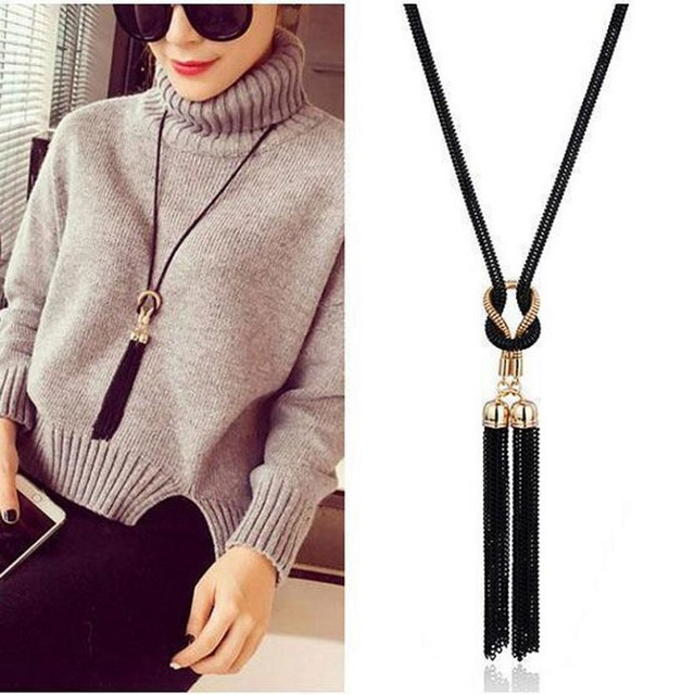 Black Long Tassel Necklace Pendant for Women Female Winter Sweater Chain Accesso