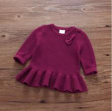 Female children's autumn clothes baby long-sleeved knitting dress unlined upper garment cotton round collar set bows sweaters
