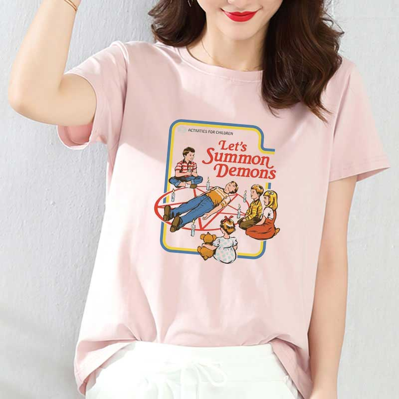 Korean Style Fashion Tshirt <font><b>80s</b></font> 90s Vintage Tshirt <font><b>Aesthetic</b></font> Female T-shirt Lets Summon Demons Printed Tops Satan T Shirt Women image