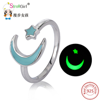 925 Sterling Silver Open Moon Ring Luminous Star Rings For Women Moon Star Jewelry Glow In
