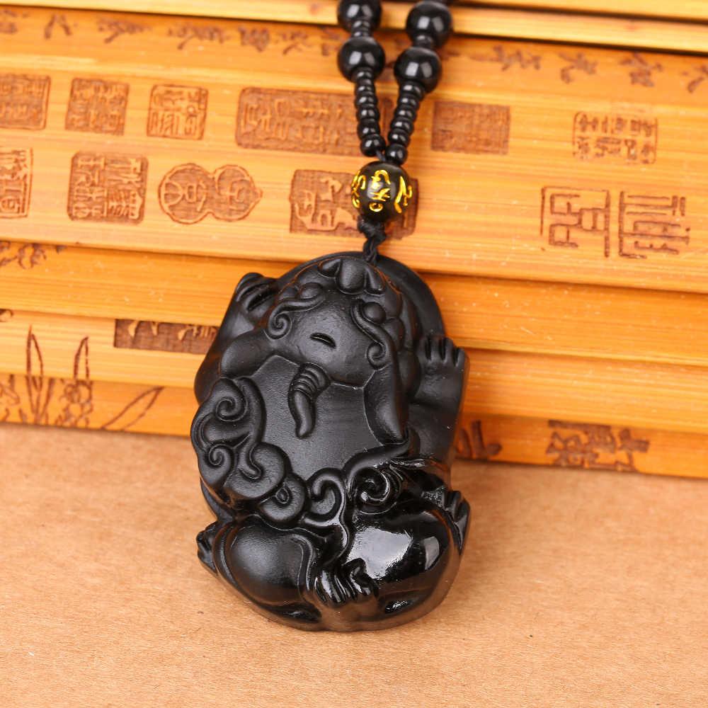 Handgemaakte Zwarte Obsidiaan Hand Gesneden Lucky Animal Amulet hanger ketting vrouw man Hoge Kwaliteit Unieke Natuurlijke Zwarte Obsidiaan