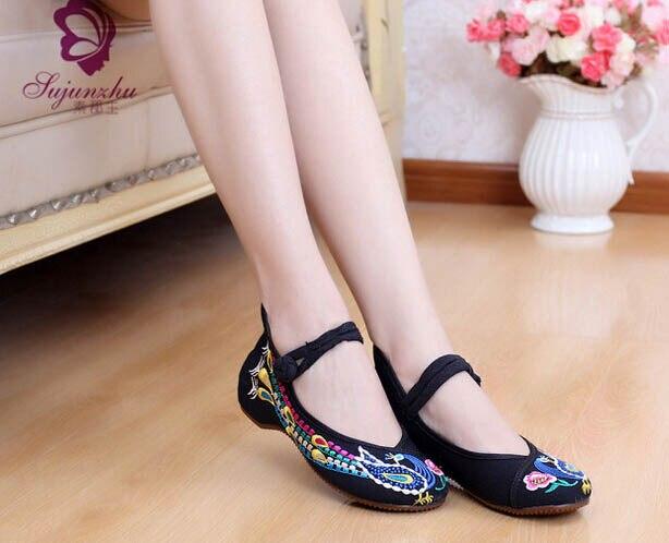 China Ethnic Women Canvas Shoes Ladies Pumps Platform High Heel Shoes Women  Wedges Shoes Footwear sapatos de salto alto ZPI 111-in Women's Pumps from  Shoes ...