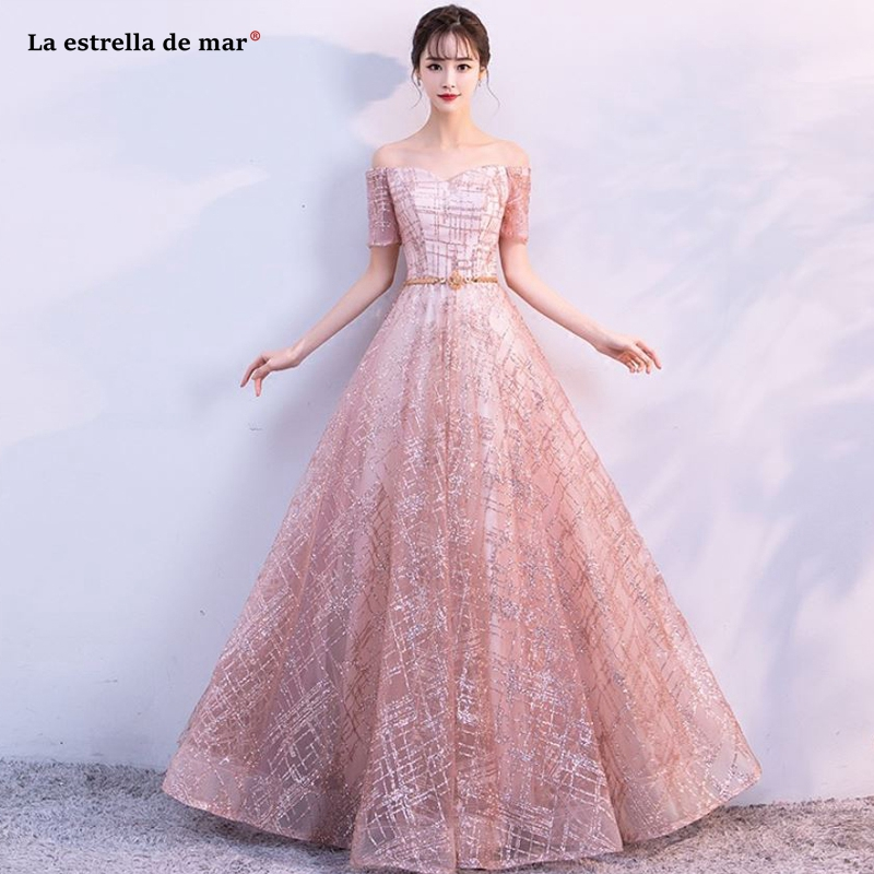 Lace Blush Pink And Gold Color: Vestidos Boda Invitada2019 New Boat Neck Short Sleeve Lace
