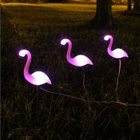 Solar Garden Stake Light Pink Flamingo with Flower and Leafs Waterproof Garden Decorative Lamp for Patio Pool Lake Yard Lawn