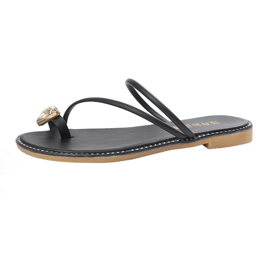 XINIU модные женские туфли со стразами плоская подошва противобуксовочные пляжные босоножки PU круглый носок летние хрустальные развлечения ...