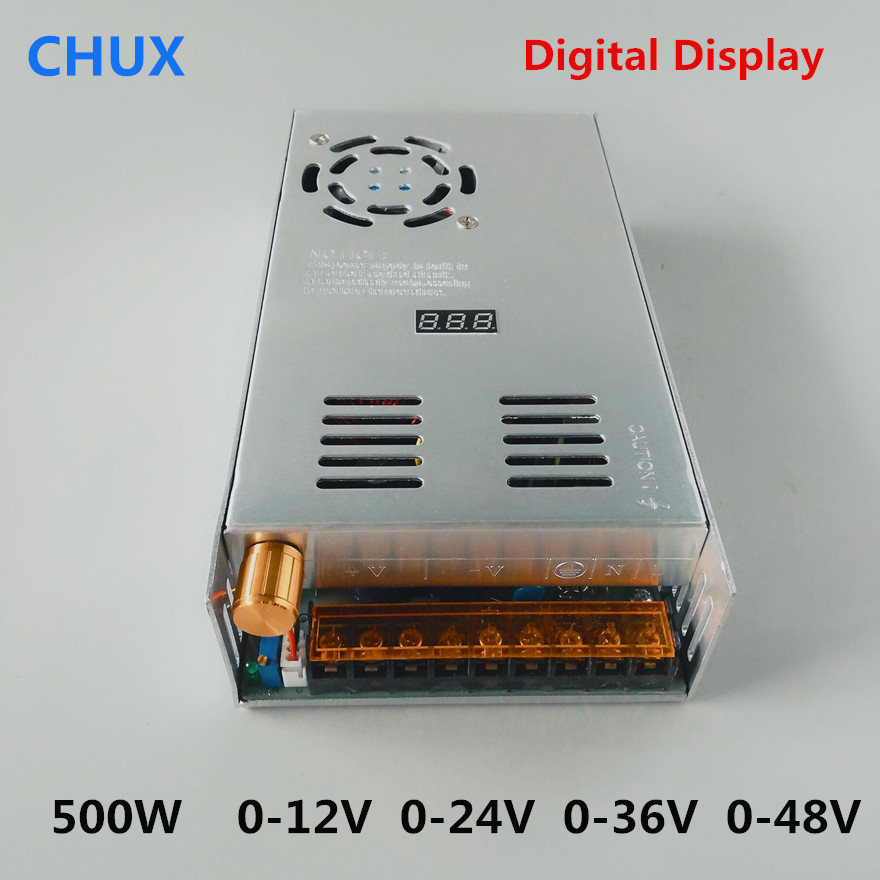 500W Switching Power Supply AC to DC Adjustable DC voltage stabilization 0-12v 0-24v 0-36v 0-48v Digital SMPS Power Supply image
