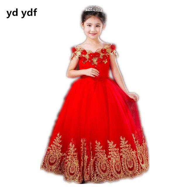 85eee828af Hermoso barco cuello de encaje rojo Vestidos de Niña en Vestidos de ...