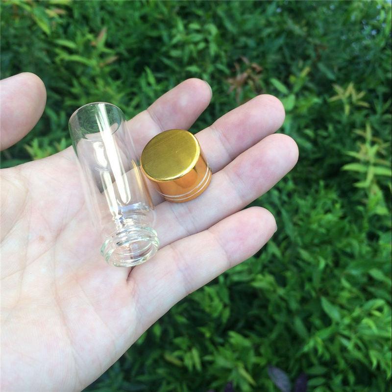 14ml Empty Glass Bottles Aluminium Screw Golden Cap Transparent Clear Liquid Gift Container Wishing Bottle Jars3