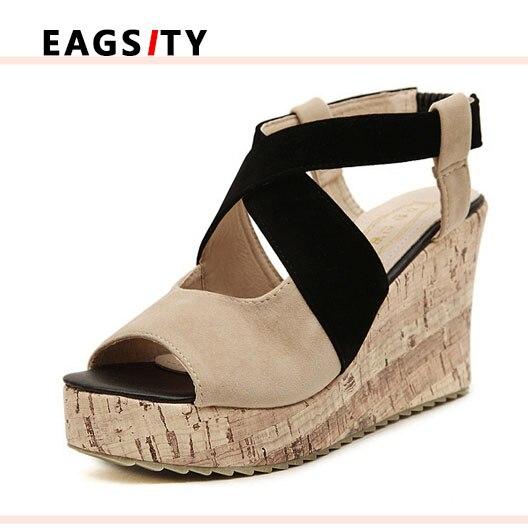 ФОТО Cross-strap women sandals peep toe casual wedges sandals lady platform Elastic band Mixed color high heel sandals pumps