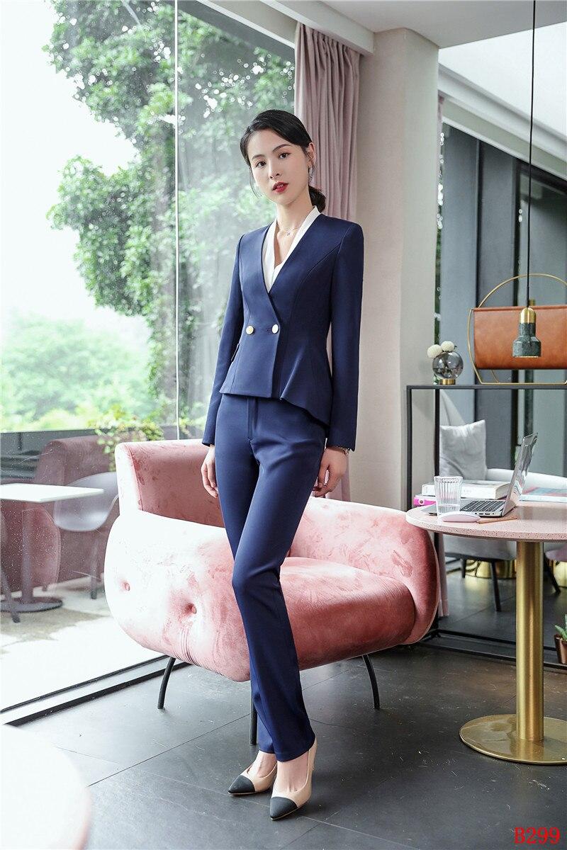 Conceptions D'affaires Casual Costumes Avec Noir Et Style marine Mode Pantalon Blazer Bleu Uniforme Femmes Noir Dames Ensemble Nouveau Bureau Veste 2018 zfFBxqwwT