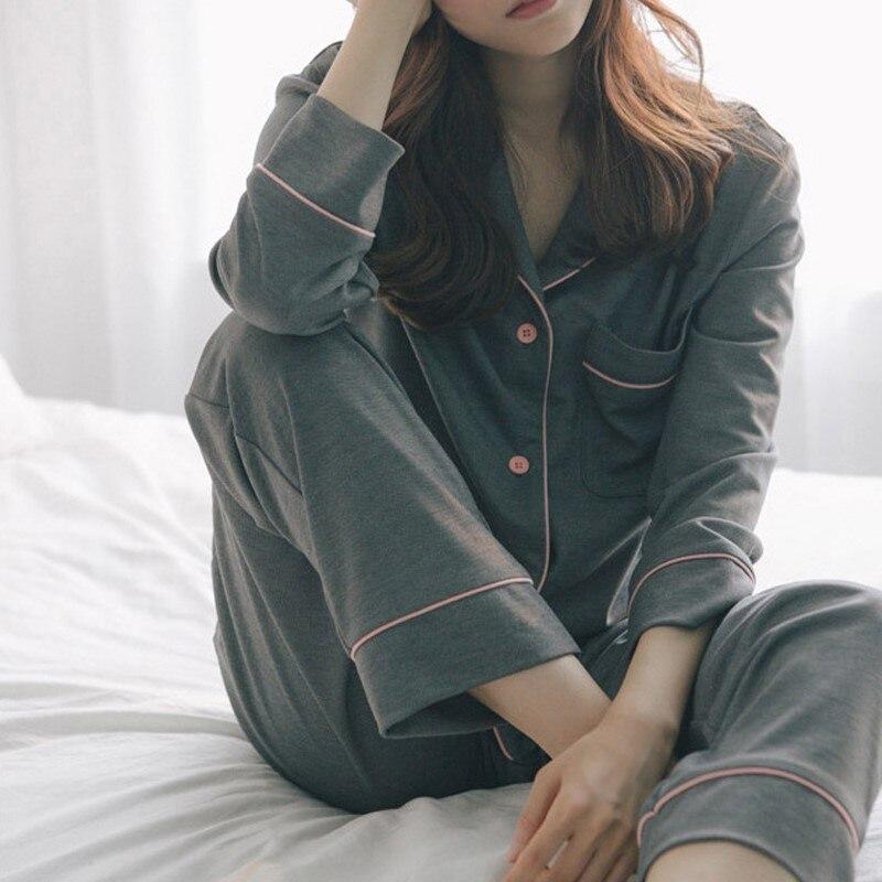 Printemps automne dames coton pyjamas ensemble femmes couleur unie à manches longues haut et pantalon confortable lâche Lingerie costume étudiant