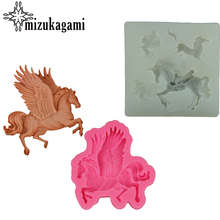 1pcs UV Resin Jewelry Liquid Silicone Mold 3D Wings Horse Resin Charms Mold For DIY Jewelry Silicone Resin Mold