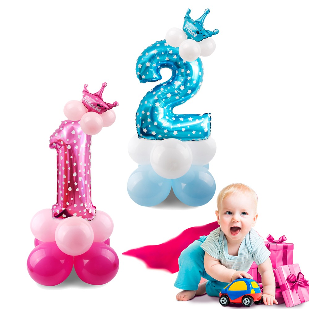 FENGRISE Pink 2nd 1st Birthday Balloons Blue Baby Kids Favors 1 Number Ballon 3 Balloon 2 Foil Baloon 3rd Decoration