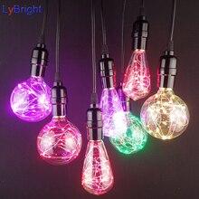 E27 светодиодный RGB Edison Звездная Фея струна красочная лампочка AC 90-260 V Рождество Ретро Рождественский Декор свет для гостиной спальни