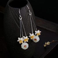 Luxury Retro Vintage 100% real S925 sterling silver inlaid natural flower long dangle earrings for women Handmade earings