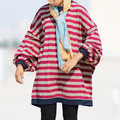 Women Autumn Winter Plus Size Striped Bat Sleeve Hoodies & Sweatshirts Long-sleeved Loose Shirt Female Oversized Stripe Hoodies