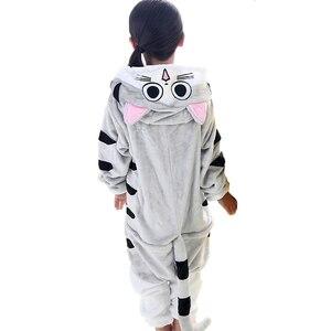 Image 2 - kigurumi New Hooded Children Pajamas Winter Flannel Cartoon Cat   Kids Boys Girls Pijamas Baby Cosplay Pyjamas Sleepwear Onesies