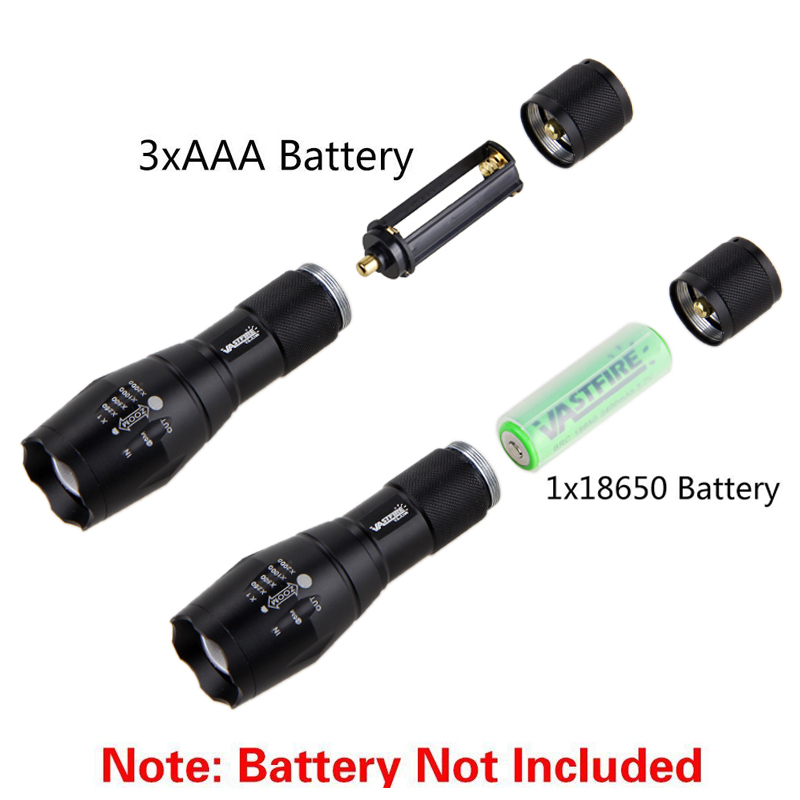 VastFire 350 LM Zoomable USB Rechargeable Military Tactical Flashlight Torch Hunt Waterproof XM-L2 LED