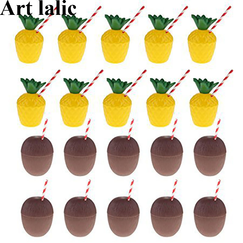 12Pcs/Lot Plastic Pineapple Coconut Drinking Cup Fruit Shape Juice Party Cups Hawaii Luau Birthday Summer Beach Pool Party Decor