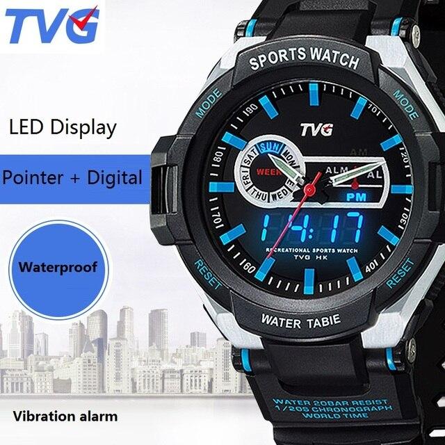 Brand TVG Big Dial Men Watch Fashion LED Digital Pointer Quartz Watch 30m Waterproof Sport Alarm Watch Clock Relogio Masculino
