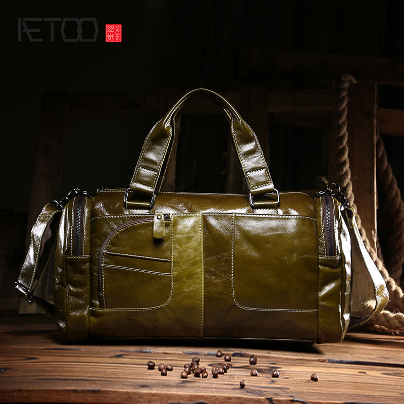 AETOO The new oil wax cow leather bags real leather bag fashion in Europe and America big capacity of the bag aetoo the new oil wax cow leather bags real leather bag fashion in europe and america big capacity of the bag