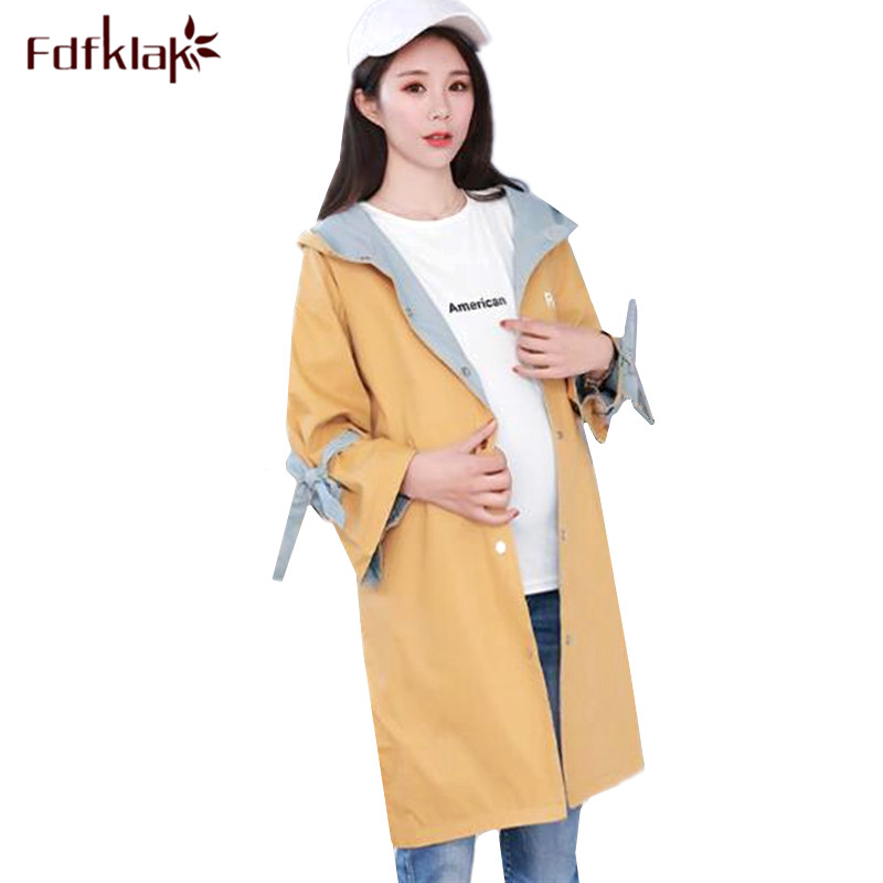 Fdfklak Large size clothes for pregnant women autumn winter pregnancy coat trench jacket female outerwear maternity jackets цены онлайн