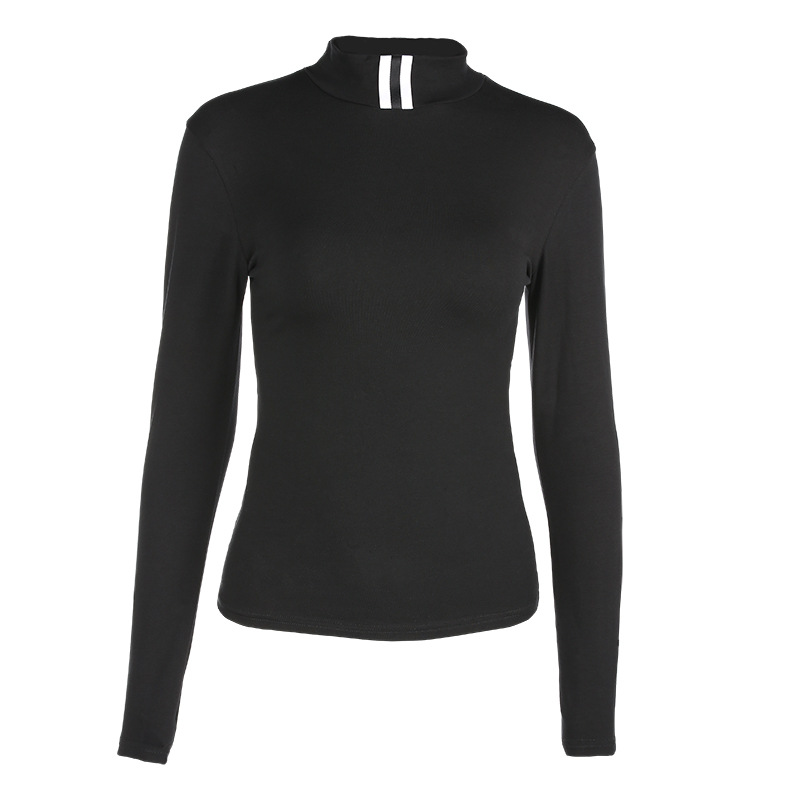 Black Basic Top Tees Casual Skinny Turtleneck long sleeve Spring Autumn Tee Shirt Cool Fashion Women Lady Clothing