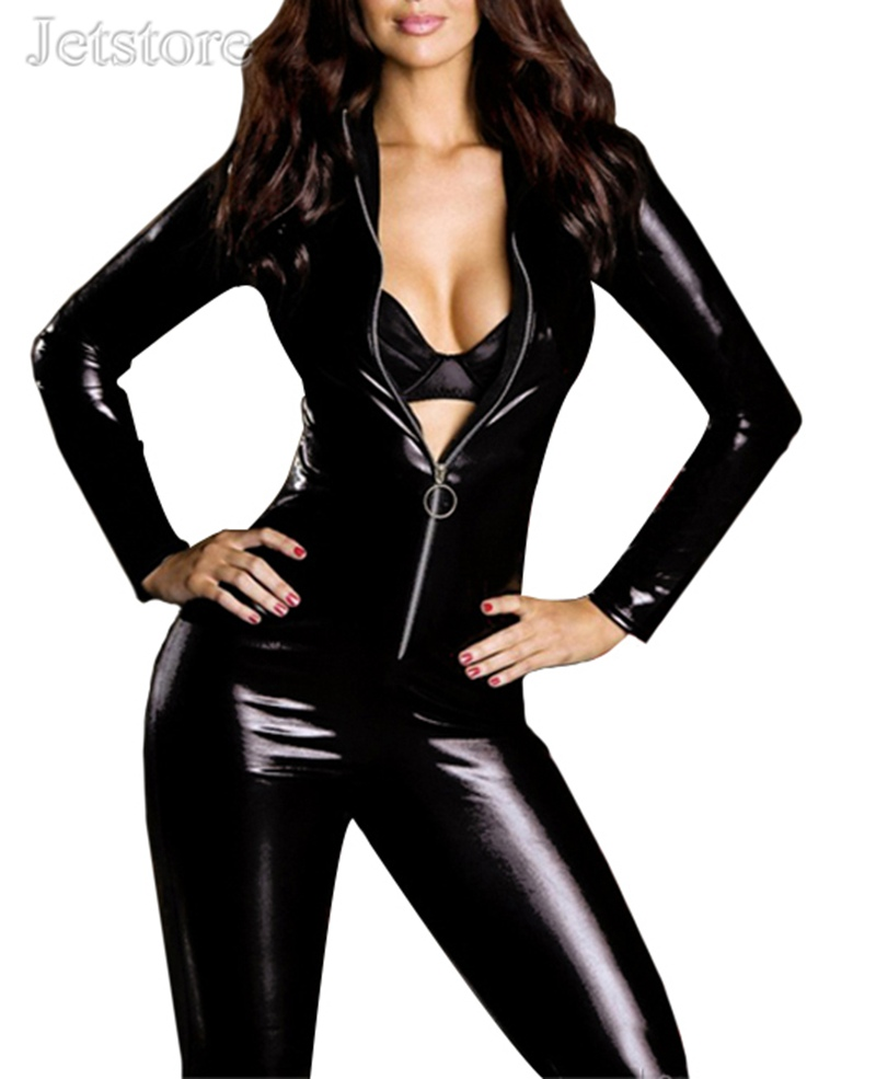 More Sexy Style Hot Sale Erotic Spandex Stretch Bodysuit Women Jumpsuit Faux Leather Outfit Ds Wear 5 10321 In Jumpsuits From Womens Clothing On