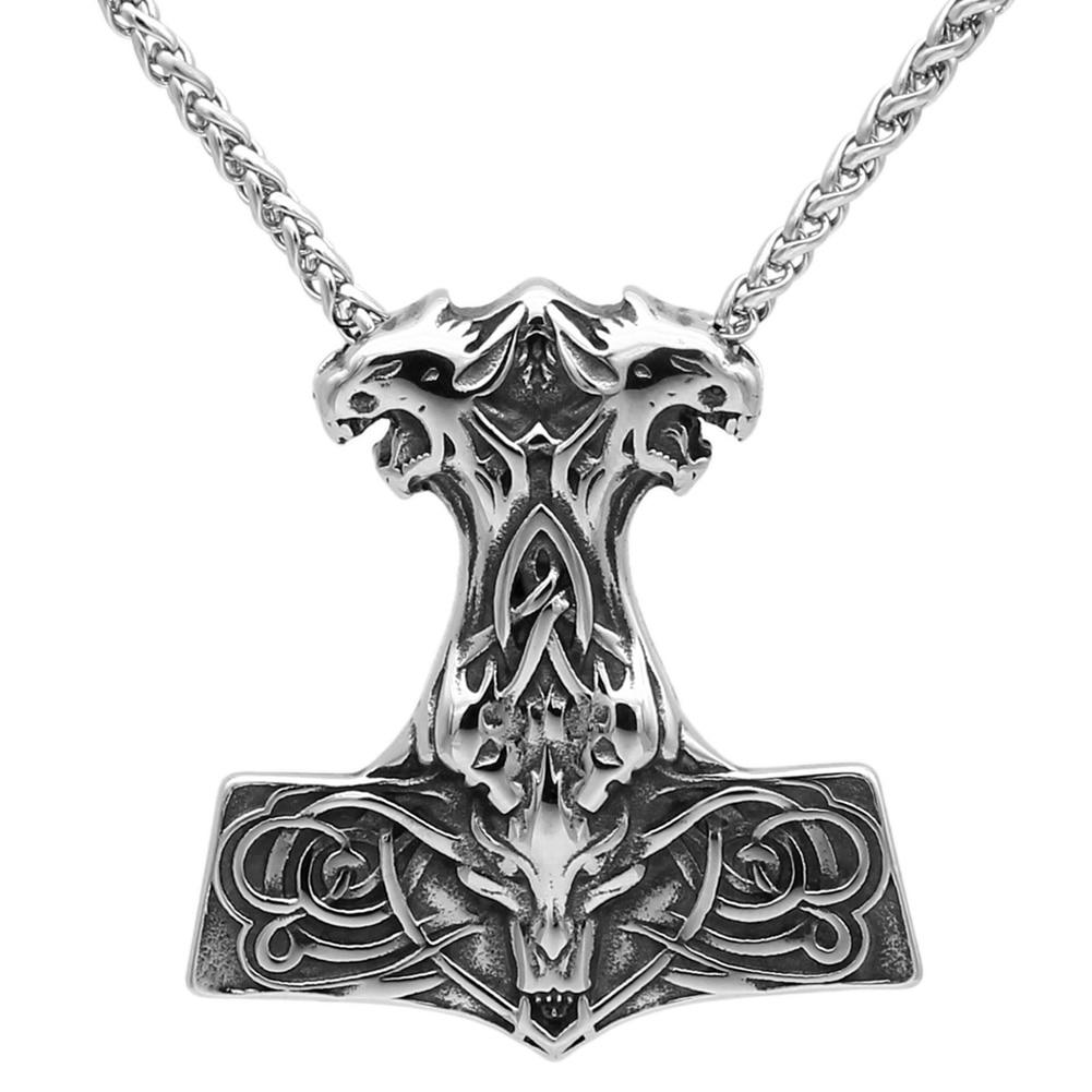 GENUINE Alchemy Gothic Pendant SkullhammerMen/'s Norse Necklace
