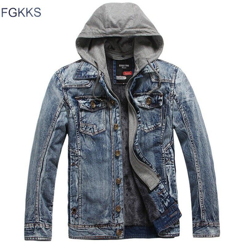 FGKKS hiver à capuche Denim veste 2019 décontracté mode mâle à capuche Denim veste hommes Slim Fit manteau