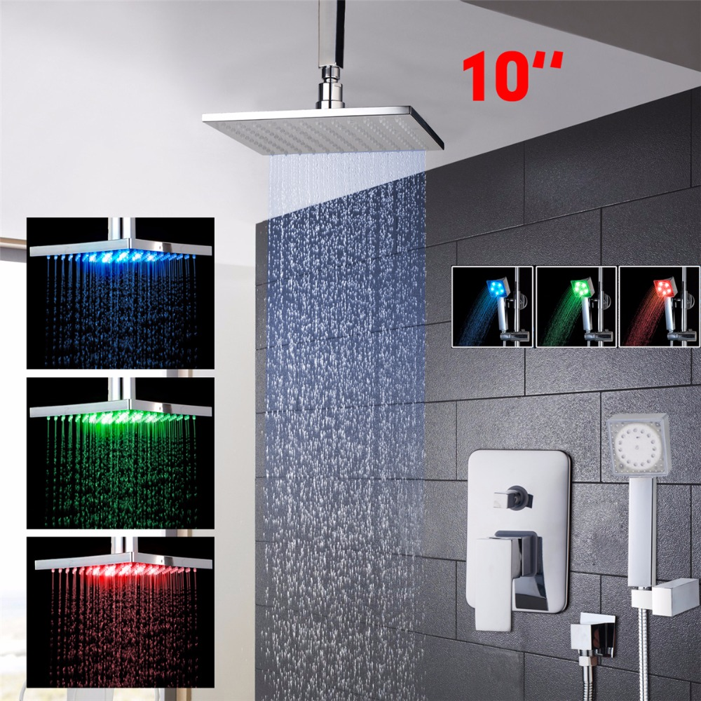 "Tempered Shower Set Torneira LED Light 10"" Rainfall Shower Head Bathroom 58803A Bathtub Chrome Basin Sink Tap Mixer Faucet"