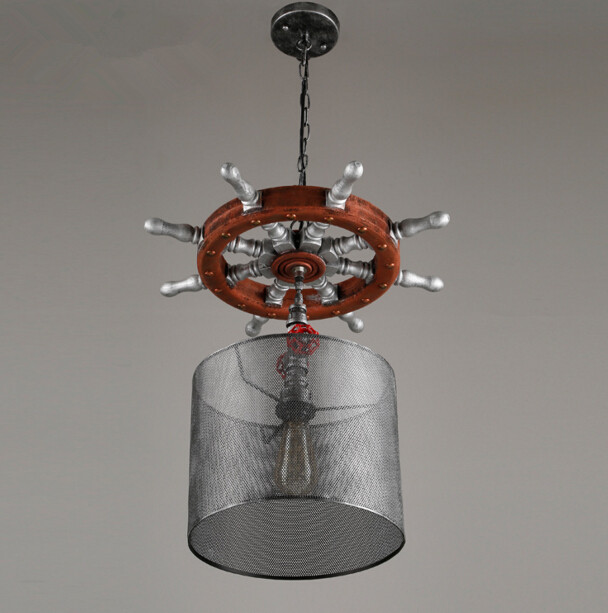 Loft Industry American Retro Wood Ship Wheel Restaurant Bar Clothing Store Hotel Cage Iron Chandelier Free