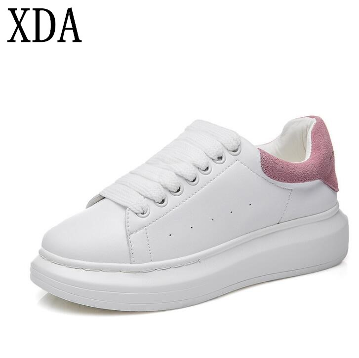 XDA 2019 New Fashion Spring Autumn Genuine Leather Flats Sheos Women White Casual Shoes Leisure Lace-up Platform Single Shoes