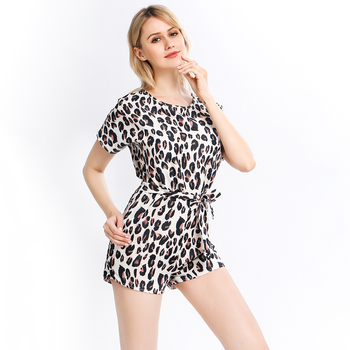 Wide Leg Belted Leopard Romper Women Short Sleeve Round Neck Playsuit Summer Women Print Rompers Overalls Casual Playsuit 3
