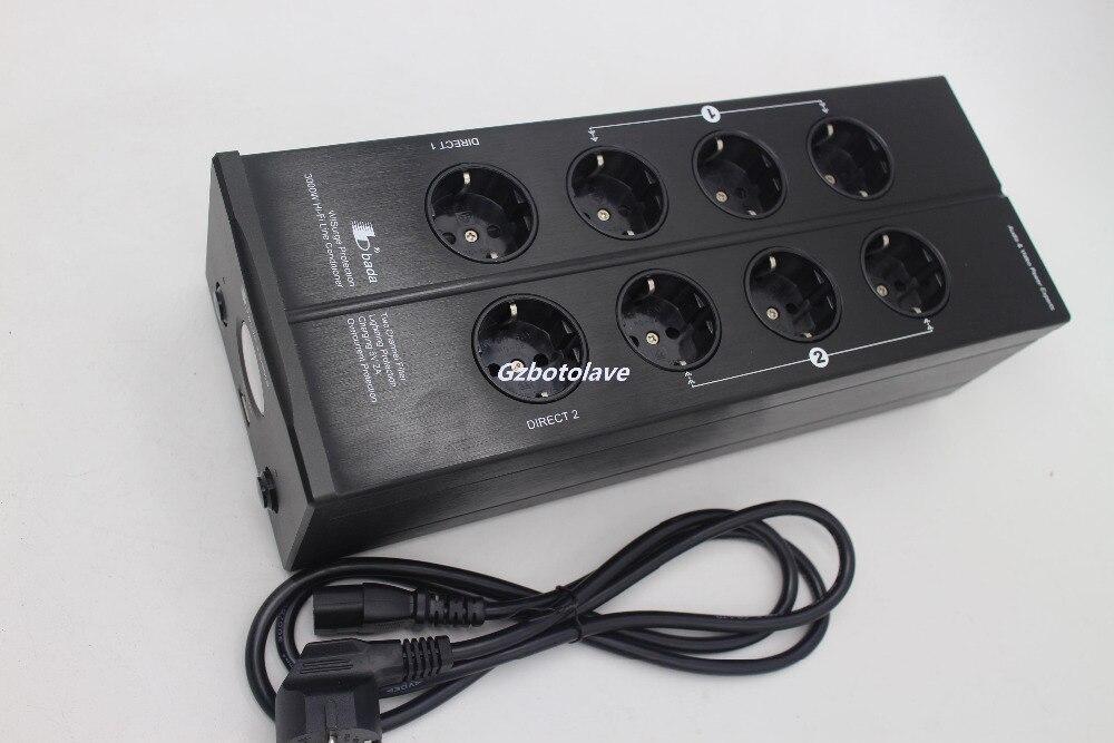 Dernière Bada LB-5610 UE plug 2 canal Audiophile Puissance Filtre Schuko Socket avec USB 5 V charge VU-mètre montré AC110V-240 V