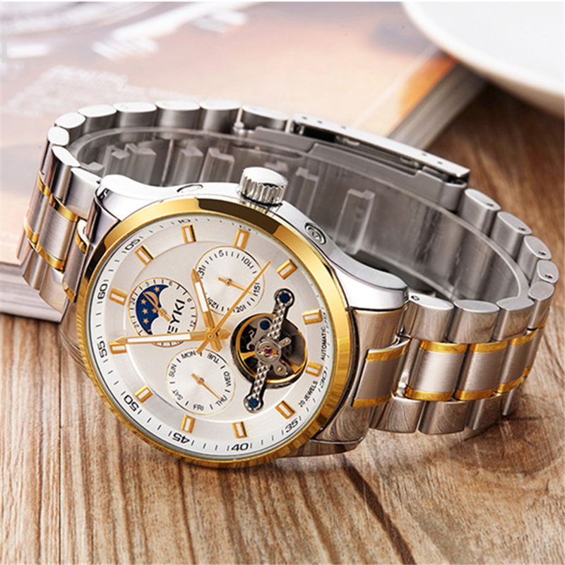 New Men Mechanical Watches Man Fashion Waterproof Luminous Automatic Luxury Gold Color Watch Stainless Steel Clock Wristwatches men luxury automatic mechanical watch fashion calendar waterproof watches men top brand stainless steel wristwatches clock gift