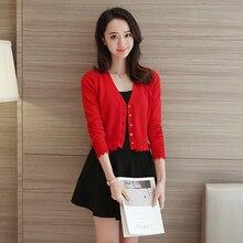 fashion Laciness summer Cardigan sweater female women spring autumn short  design small lap slim long- ad77b72ea