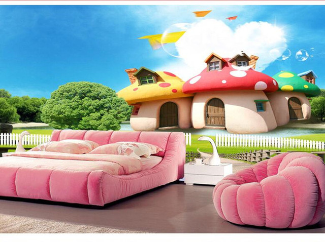 Custom 3D Photo Wallpaper Murals HD Cartoon Mushroom Room Children U0027s  Bedroom Background Wall Decoration