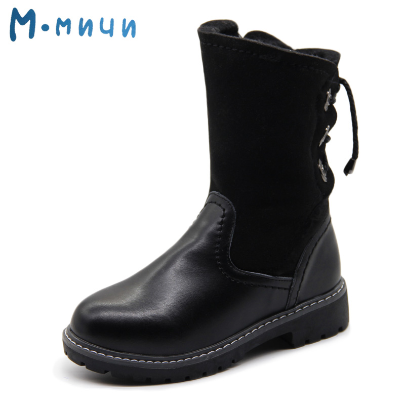 цены MMNUN Russian Famous Brand Winter Boots for Girls High Quality Warm Children's Winter Shoes Leather Kids Boots Girls Ankle Boots