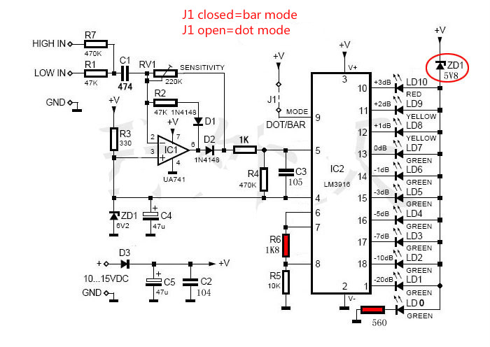 audio led level indicator circuit