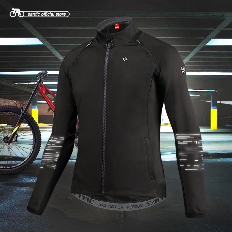 Santic Mens Cycling Jackets Keep Warm Cycling Windproof Jacket Coat Removable Sleeves Black Autumn Winter Asian S-3XL M7C01086 monton 1019 ultrathin cycling polyester fiber jacket black size s