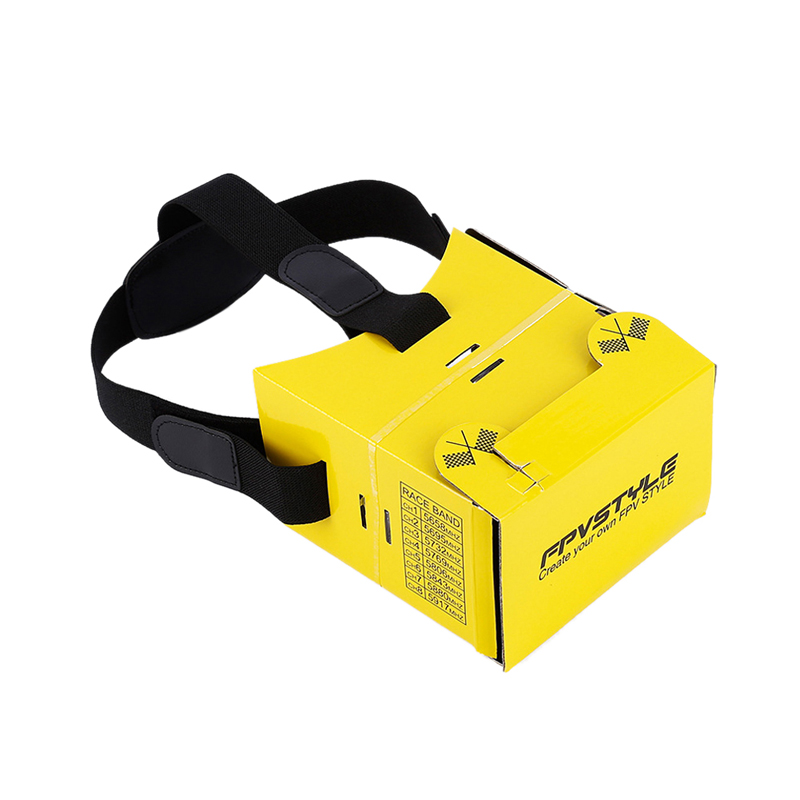 Virtual Reality Foldable Yellow FPV CardBoard Glasses Paper Material 3D VR Box Headset for QAV250