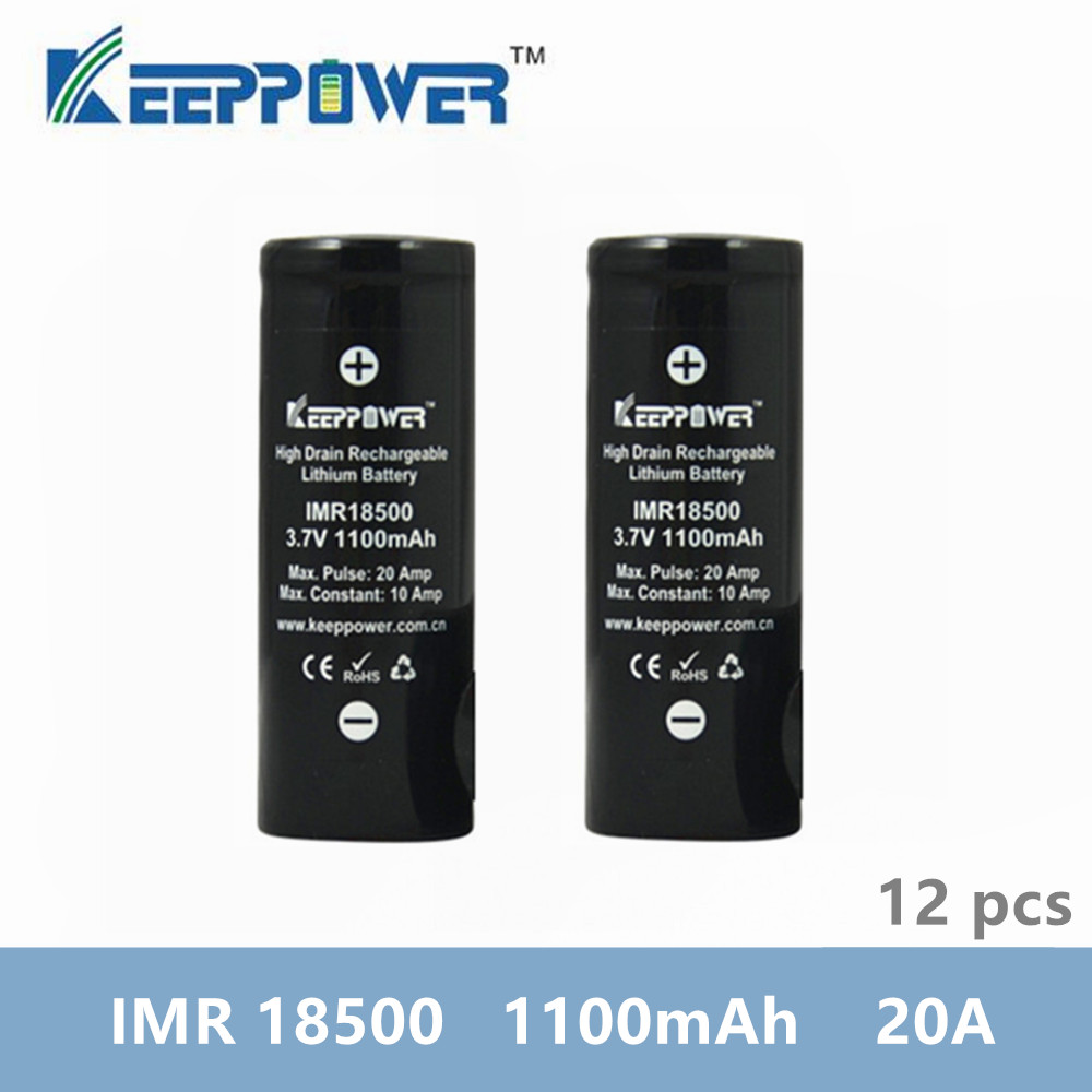 12 pcs KeepPower IMR 18500 battery 1100mAh 20A max discharge li ion high drain rechargeable battery