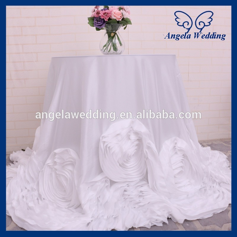 CL052D New Fancy Elegant Round Flower Fancy Wedding White Taffeta  Tablecloths With Rose
