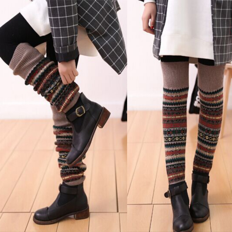 WEIXINBUY Women Winter Elegant Over Knee Long  Knit cover Patchwork Colorful Ladies Crochet Vintage Leg Warmers Legging Chic 9